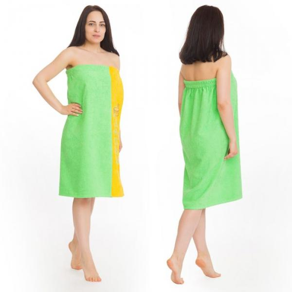 Килт(юбка) жен. махр., вышивка, арт:КМ-5, 80х160 зелень нежная, Хл, 300г/м