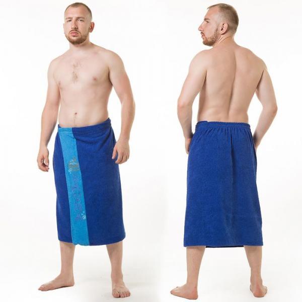 Килт(юбка) муж. махр., вышивка, арт:КМ-6, 70х160 синий, Хл, 300г/м