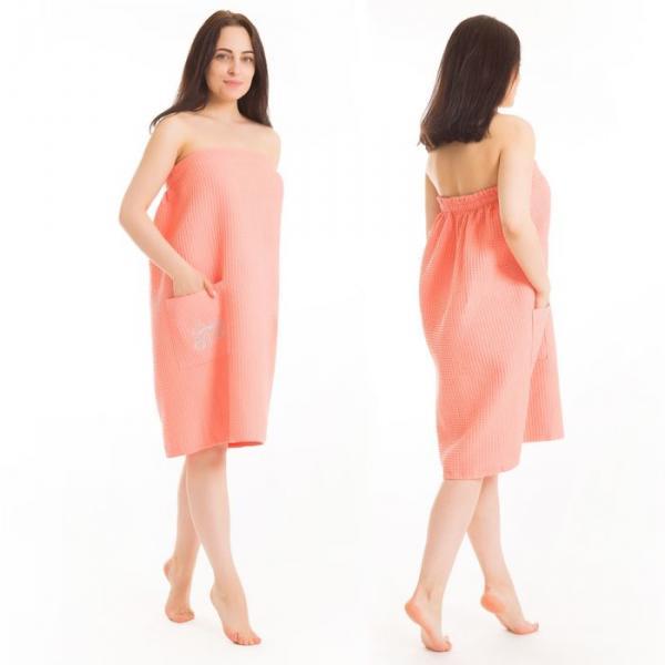 Килт(юбка) жен. вафельный однотон, вышивка, арт:КВ-4В персик. 80Х150, Хл, 215 г/м