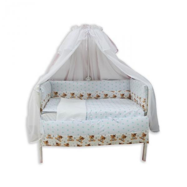 """Комплект в прямоугольную кроватку """"Звёздные сны медвежонка"""", 7 предметов"""