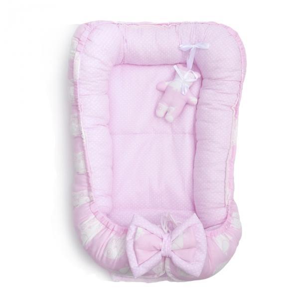 Колыбелька Гнездышко ПРЕМИУМ Совушки, 0-6 мес., цв розовый, бязь/поплин