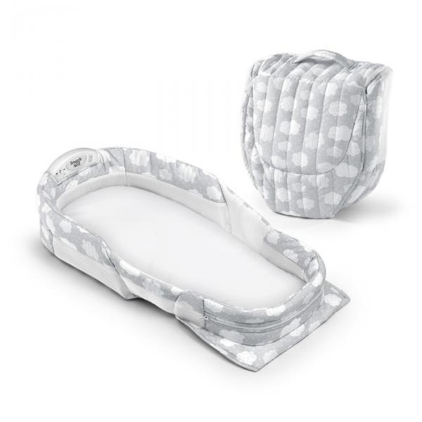 Складная кроватка Baby Delight ХL серая с облаками