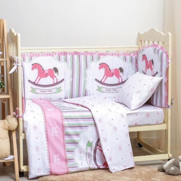 "Борт в кроватку ""Лошадки"" розовый, размерами 54х60 - 1 шт, 40х60 - 1 шт, 40х120- 2 шт хл100%   30881"