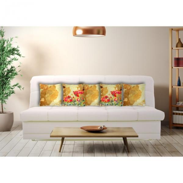 "Комплект декоративных подушек ""Маки 3"" размер 40х40 см-5 шт."