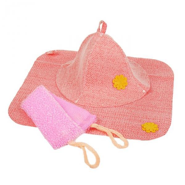 """Набор банный женский (шляпа """"Колокольчик"""", коврик, мочалка), красный"""