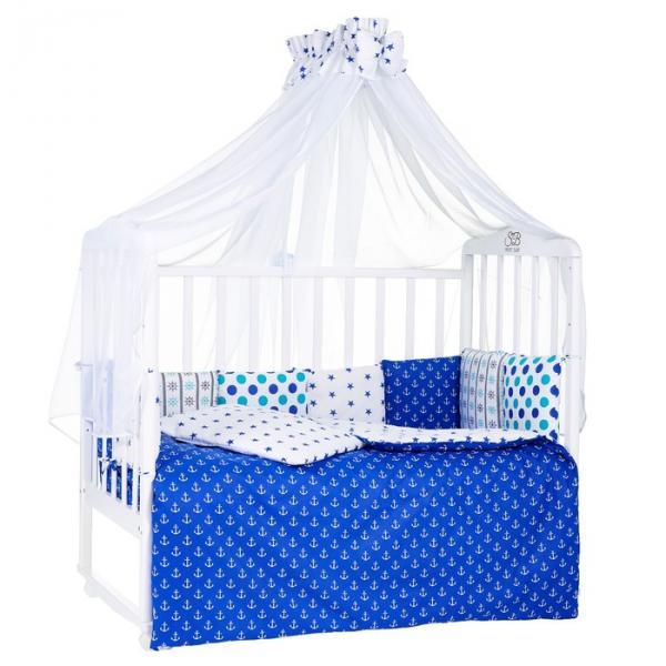 Комлект в кроватку Ancora Turchese, 7 предметов, цвет синий/бирюзовый
