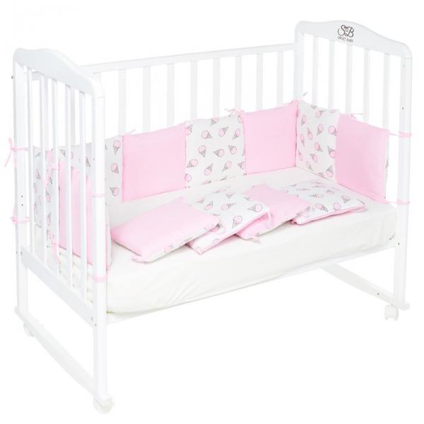 Бортики в кроватку Gelato Rosa, 12 частей, цвет розовый