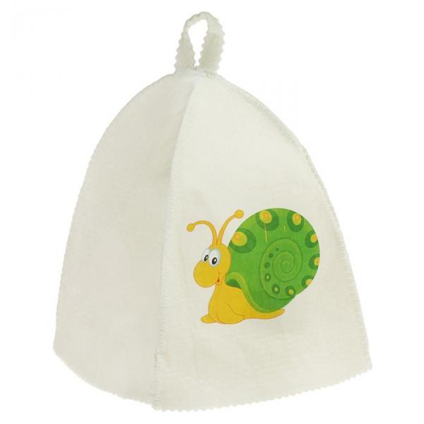 """Шапка для бани и сауны детская с термопечатью """"Улитка с зелёным панцырем"""""""