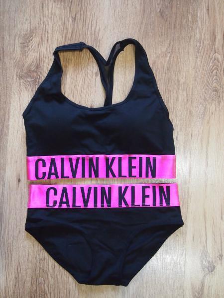 комплект Calvin Klein черный с розовой резинкой