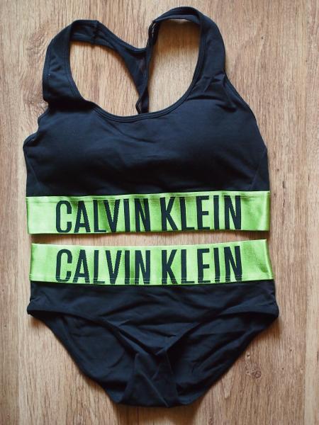 комплект Calvin Klein черный с салатовой резинкой
