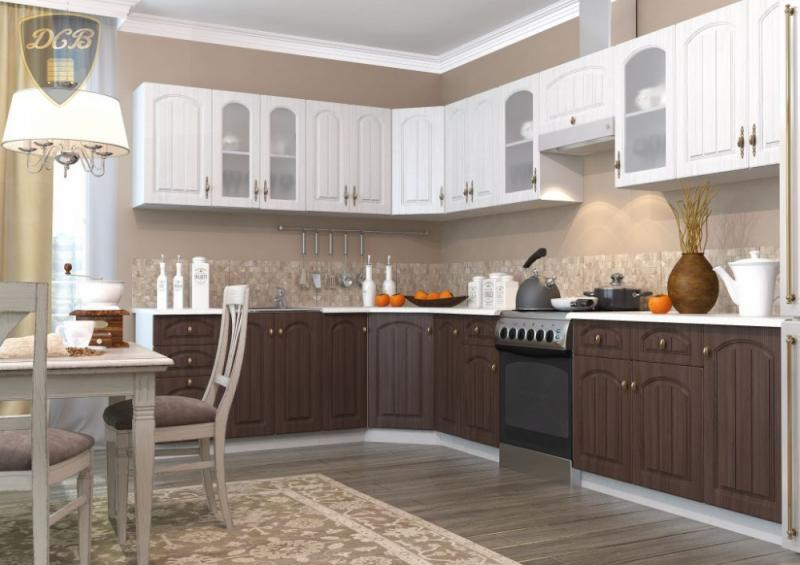 Кухня МОНАКО (САНДАЛ/БРАЗИЛЬСКИЙ ОРЕХ)модульная (ДСВ мебель)