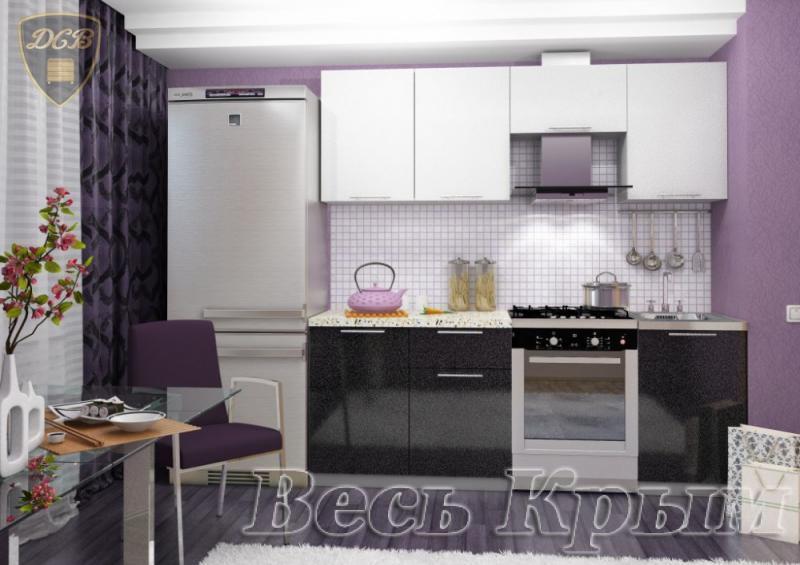 Кухня ОЛИВА ЧЕРНЫЙ-БЕЛЫЙ 2.1м(ДСВ мебель) Кухонные гарнитуры в Крыму