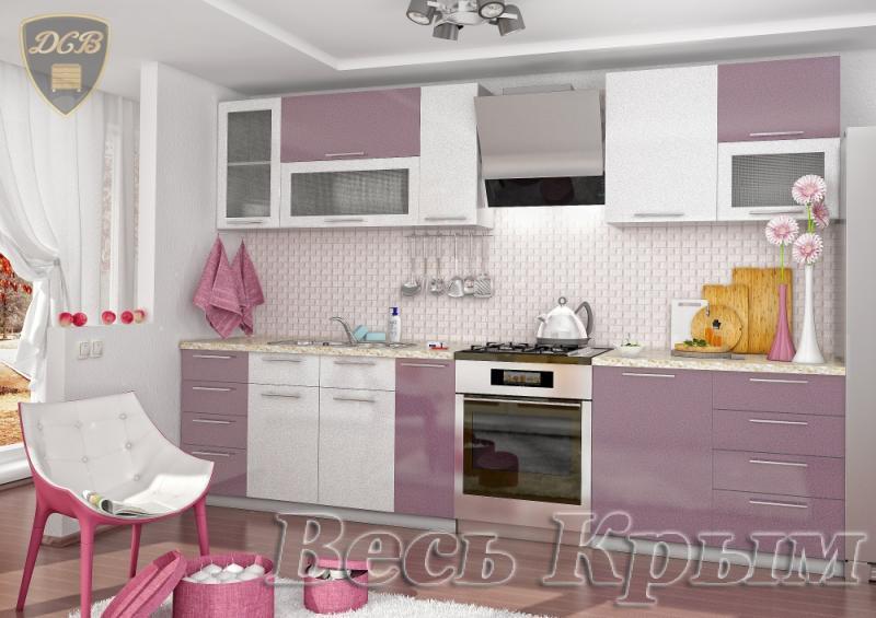 ДСВ мебель-Кухня ОЛИВА - СИРЕНЬ БЕЛЫЙ модульная Кухонные гарнитуры в Крыму