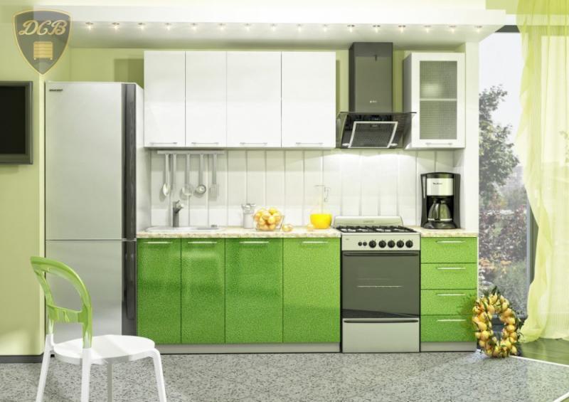 Кухня ОЛИВА БЕЛЫЙ-ЗЕЛЕНЫЙ модульная(ДСВ мебель)