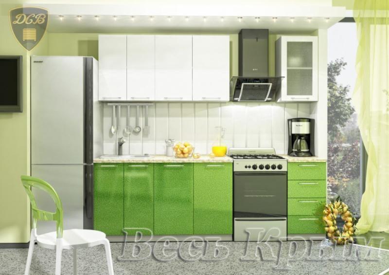 Кухня ОЛИВА БЕЛЫЙ-ЗЕЛЕНЫЙ модульная(ДСВ мебель) Кухонные гарнитуры в Крыму