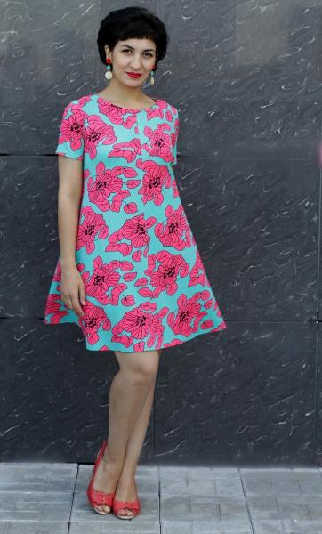 Платье П65 Цветы фуксия