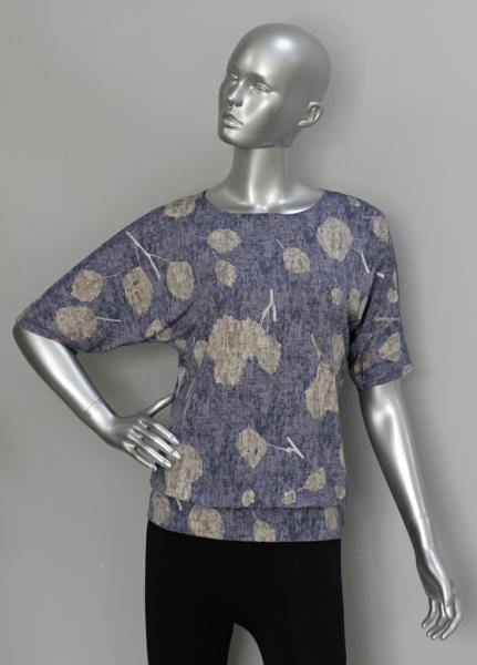 Блуза ТР76 Цветы на синем