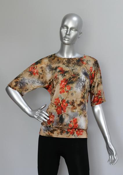 Блуза ТР76 Цветы на бежевом