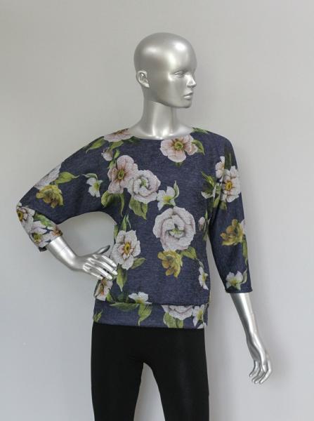 Блуза ТР47.1 Цветы/синий