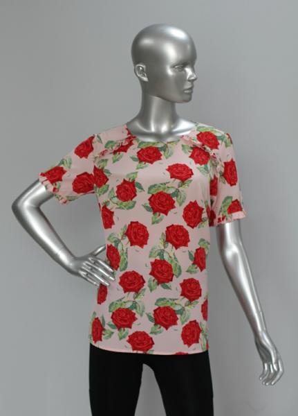 Блуза A65 Розы на розовом