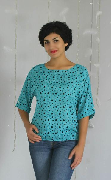 Фото Блузы Блуза A36 Сердечки/бирюза
