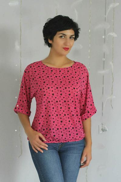 Блуза A36 Сердечки/малина