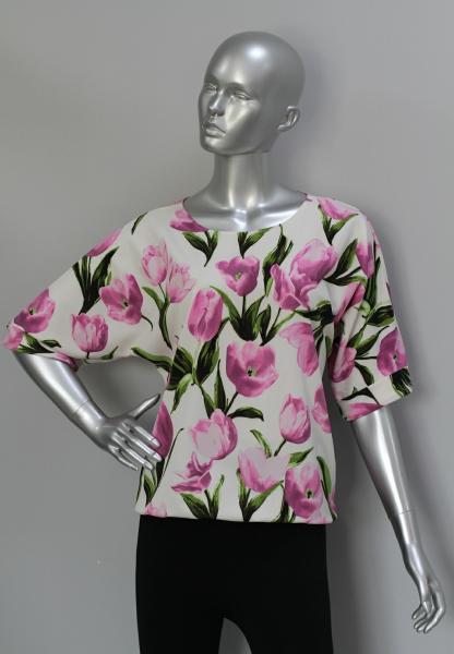 Фото Блузы Блуза A36.1 Тюльпаны/сирень