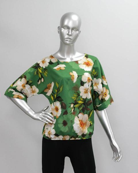 Фото Блузы Блуза A36.1 Цветы на зеленом