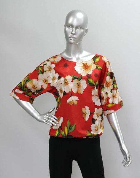 Фото Блузы Блуза A36.1 Цветы на красном