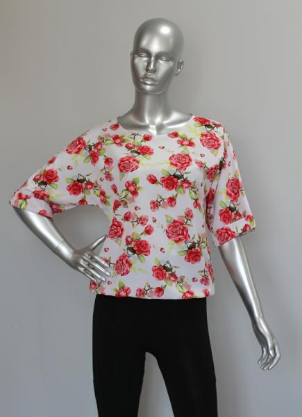 Блуза A36.1 Розы на белом