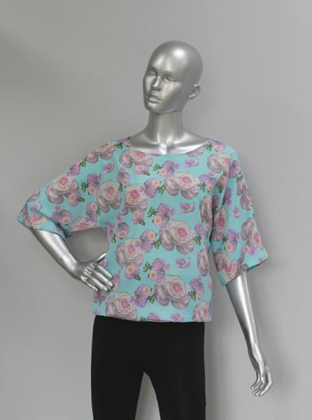 Фото Блузы Блуза A36.1 Пионы на мяте