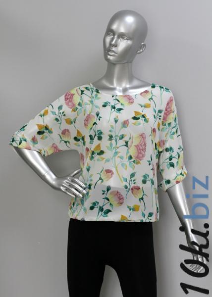 Блуза A36.1 Пионы/крем Рубашки женские на рынке Восток в Новосибирске