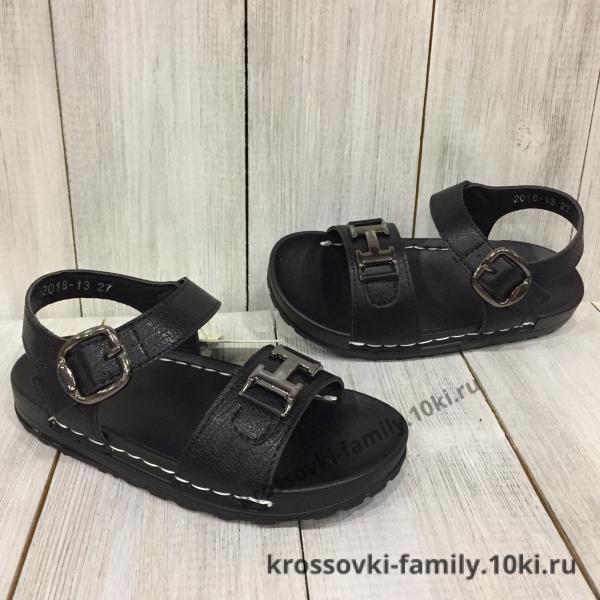 Фото Детская обувь Летние босоножки черные для  мальчика