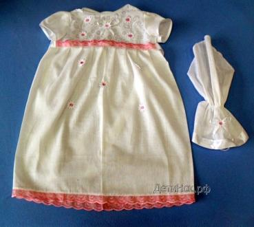Фото Швейные изделия (Наборы для выписки, пеленки ит.д., Швейные изделия (собственное производство) К003 Крестильный набор (Платье + косынка)