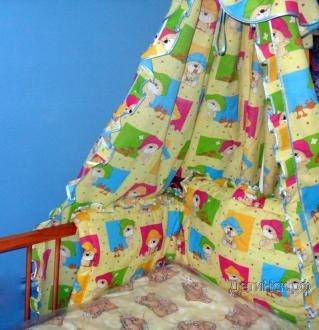 Фото Швейные изделия (Наборы для выписки, пеленки ит.д., Комплекты в кроватку (собтсвенное производство) ШПБ004 Противоударник с балдахином из бязи