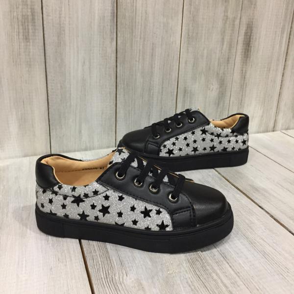 Кроссовки детские кожа черные с звездами