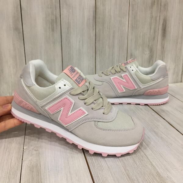 Кроссовки женские New Balance серые с розовым