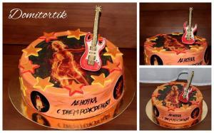 Фото Торты, Фототорт (торт с картинкой) Торт Рок (Rock, рокерше, гитара)