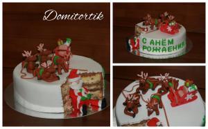 Фото Торты, Торт-прикол Торт Дед мороз, олени (Новый год)