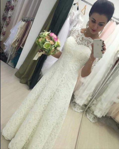 Кружевное свадебное платье для полных Инесса