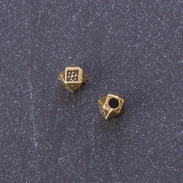 """Фурнитура вставка восьмиугольник 4мм цвет металла  """"бронза"""" отверстие 2мм"""