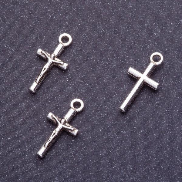 Фурнитура подвеска крест распятие L-18мм d1-1,5мм цвет серебро