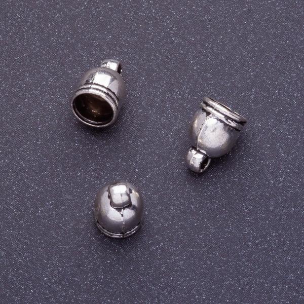 Фурнитура наконечник для бус L-11мм d1-7,5мм d2-5мм d3-1,5мм цвет серебро
