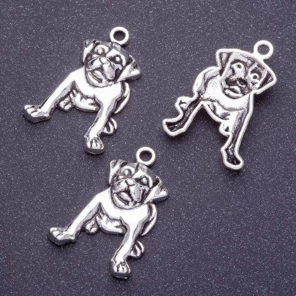 Фурнитура подвеска собака бульдог L-2,5мм d1-1,5мм цвет серебро