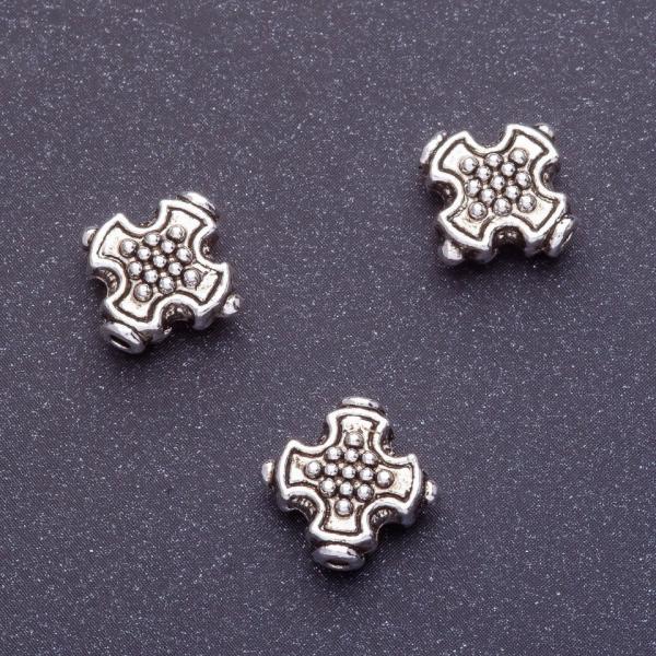 Фурнитура вставка между бусинами крест d1-12мм d2-1,5мм цвет серебро