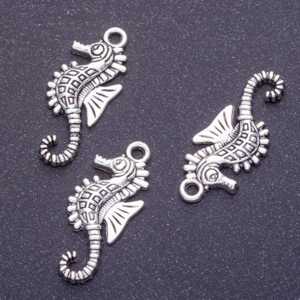 Фурнитура подвеска морской конек L-30мм d1-2мм цвет серебро
