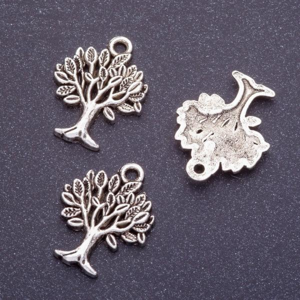 Фурнитура подвеска дерево L-22мм d1-1,5мм цвет серебро