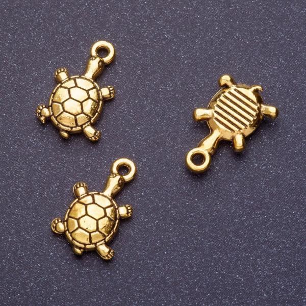 Фурнитура подвеска черепаха L-18мм d1-1,5мм цвет старое золото