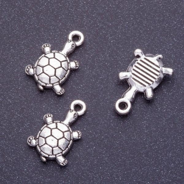 Фурнитура подвеска черепаха L-18мм d1-1,5мм цвет серебро