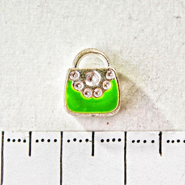 [10 мм] Бусина шарм Пандора светло серый металл сумочка зеленая